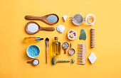 Zero waste self care productswith copy space on yellow background