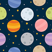 Space Seamless Pattern with Planets and Stars