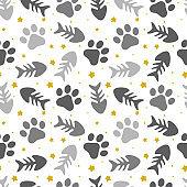 pet paw, fish bone and dog bone seamless pattern background