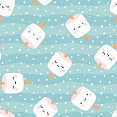 Marshmallow cute face character seamless pattern