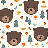 Fox and bear seamless pattern background