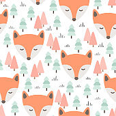 Fox seamless pattern background