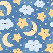 Moon, Cloud and Stars Cute Seamless Pattern,