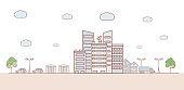 Cityscape vector cartoon outline illustration. Urban landscape, street with cars, skyline city, office buildings.
