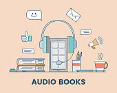 Audio book cartoon outline banner concept. Podcast, audio media, or electronic learning vector illustration.