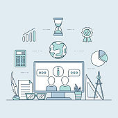Innovation education vector cartoon outline illustration. Distant learning, online education concept.