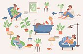 Stay and relax at home vector flat illustration. People spending weekend at home together.