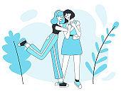 Two smiling girls hugging vector cartoon illustration.