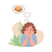 Woman dreaming of hamburger vector flat cartoon illustration. Hungry woman wishing to eat fast food.