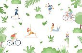 Young people in sports clothes doing sport activities in the park vector flat illustration.