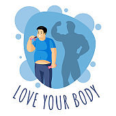 Love your body vector illustration with typography. Appetite correction, diet and weight loss control concept.
