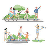 Happy smiling people in comfortable clothes spending summertime together outdoor vector flat illustration.