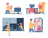 People spend time together at home, chatting and talking on video call vector flat cartoon illustration.