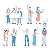 People holding posters vector cartoon illustration. Demonstration, protest, activism, voting concept.