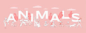 Animals word banner template. Pet owners spending time with domestic animals poster concept.