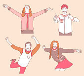 Group of happy smiling young people in casual clothes dancing, enjoying, showing thumbs up.