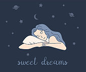 Sweet dreams card design. Woman sleeping and dreams about stars and planets. Healthy sleep and relaxation.