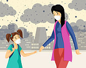 Mother, daughter wearing masks flat illustration. Woman with little girl walking at industrial district, breathing smog and dust cartoon characters. City air pollution, plants emissions urban problems