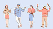 Airport and airline workers illustration. Aircrew, stewardess, pilot and airport employee characters.