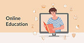 Online education and internet learning vector flat cartoon banner design. Distant learning, web studying.