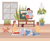 Online education, internet learning vector flat cartoon illustration. Distant learning during coronavirus outbreak.