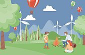 Family spending time together at summer picnic in the forest vector flat illustration. Family weekend.