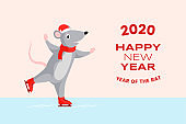 2020 happy New Year banner template. Greeting card design with rat skating on rink and red typographic inscription. Winter holiday postcard, horizontal poster layout with adorable mouse