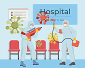 Medical workers disinfecting hospital during global pandemic of Coronavirus Covid-19 vector flat illustration.