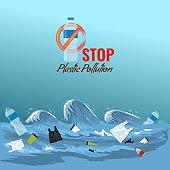 Stop ocean plastic pollution concept. Plastic garbage bottles in the ocean sea waves. Vector illustration.