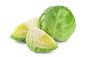 Green cabbage isolated on white background with clipping path and full depth of field.