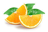 orange fruit slice with leaves isolated on white background