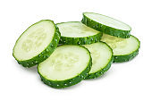 Sliced cucumber isolated on white background with clipping path and full depth of field,