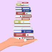 Hand with stack of books. Offer to read or learning, teaching and training concept. Vector illustration.