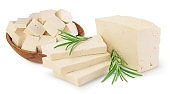 tofu cheese isolated on white background with clipping path and full depth of field,
