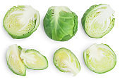 Brussels sprouts isolated on white background with clipping path and full depth of field. Top view. Flat lay. Set or collection