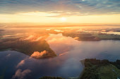 Aerial photo of a morning lake