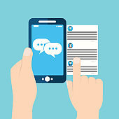 Mobile phone chat message notifications vector illustration isolated on color background, hand with smartphone and chatting bubble speeches, concept of online talking, speak, conversation, dialog.
