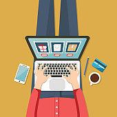 Person buy on online commerce. E-commerce. Online business illustration. Modern flat design for Web Banner , Website Element , or Web Template