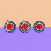 Fresh sweet figs. Fruits raw minimal concept art