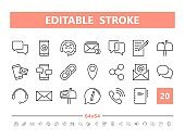 Contact Us 20 line icons. Vector illustration in line style. Editable Stroke, 64x64, 256x256, Pixel Perfect.