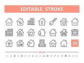 Real Estate 20 line icons. Vector illustration in line style. Editable Stroke, 64x64, 256x256, Pixel Perfect.