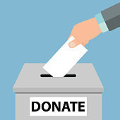 Charity icon concept. Hand putting money coin in the donation box - Vector