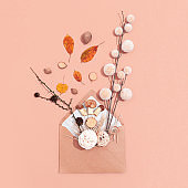 Colorful autumn decor in the envelope on beige background. Top view. Flat lay