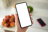 female hand holding phone with isolated screen in room