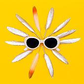 Sunglasses Fashion Accessory. Summer flat lay creative art