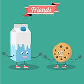 Vector cartoons of comic characters milk and cookies. Friends forever. Breakfast