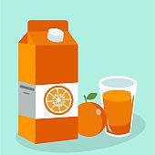 Orange juice in glass. Carton box. Vector illustration. Flat design style