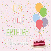 Happy birthday, cake and balloons, holiday, greeting and invitation card.