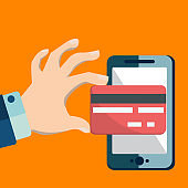 Mobile banking. Flat contour illustration of human hand paying by credit card via smartphone