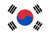 Flag of Korea South. Vector illustration.